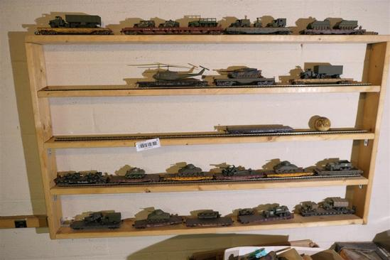 Shelf Lot of Model Train Cars & Military Toys