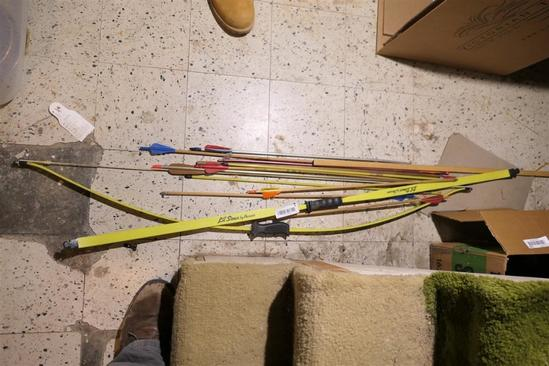 Two Vintage Recurve Bows + Arrows Lil Sioux