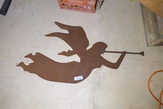 Vintage Metal Flying Angel Cutout Decorative piece