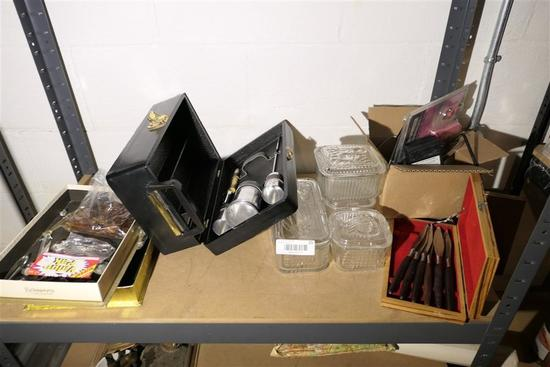 Lot Misc. items glass, picnic, chandelier crystals