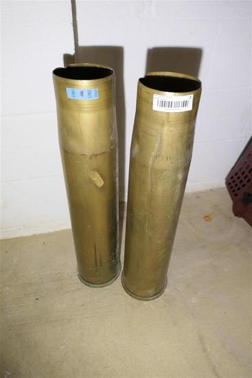 2 very large mi.itary brass artillery Shell casings
