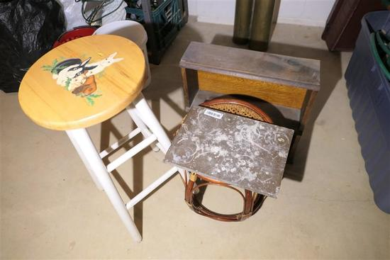 Marble Piece, Shelf, Footstool, Stool lot