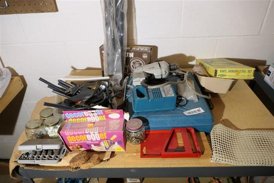 Misc Tools on Top of Shelf Lot Inc. Drill etc