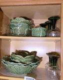Cupboard Lot Portugal Lettuce Ware, Green Glasses