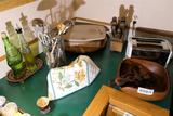 Counter Lot of Assorted Items Knives, Bowl etc