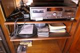 3 Shelves Contents JVC Tape Player, Records etc