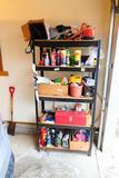 6' metal utility shelf plus contents of tools etc