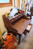 Unusual Antique Wooden Desk w/Porcelain Pulls