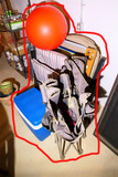 Cooler, Group Lot Lawn Chairs, Ball etc