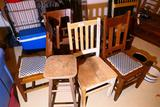 5 Antique Chairs, a Stool and  Faux Wicker Table