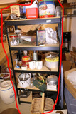Assorted Contents of Metal utility shelf