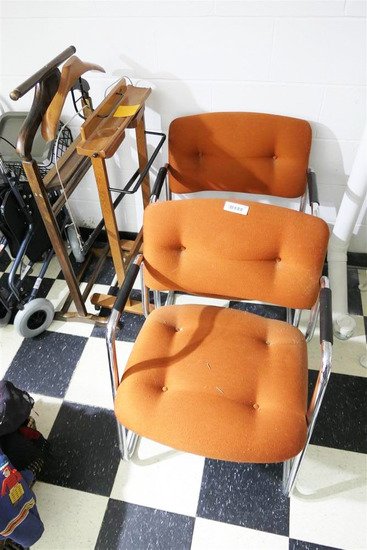 2 Vintage MCM Steelcase Chairs + 2 Silent Butlers