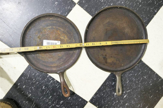 2 Larger Cast Iron Made in USA Griddle Pans