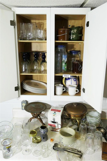 Contents of Cupboard and Counter Lot Glass etc