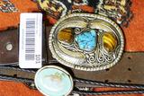 outhwestern Belt Buckle w/Turquoise + Scorpion