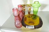 Group Lot Nicer Antique Glass Inc. Signed Bowl
