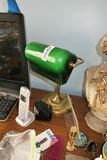 Vintage Green Glass Desk Lamp