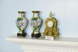 2 Enamel Chinese Vases + Quartz Brass Mantle Clock