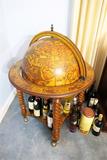 Vintage Antique Style Globe Bar on Wheels
