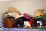 Closet Shelf Lot of Better Old Hats, Scarves etc