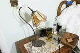 Antique Desk Lamp Leaded Slag Glass