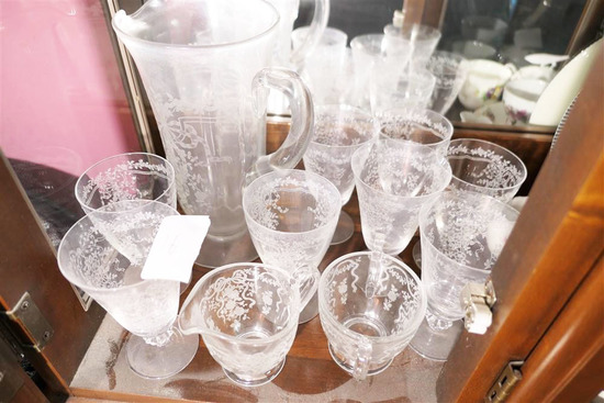 Group Lot Fostoria Glass Cups, Pitcher