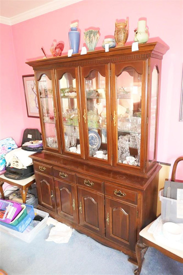Large vintage wooden china cabinet
