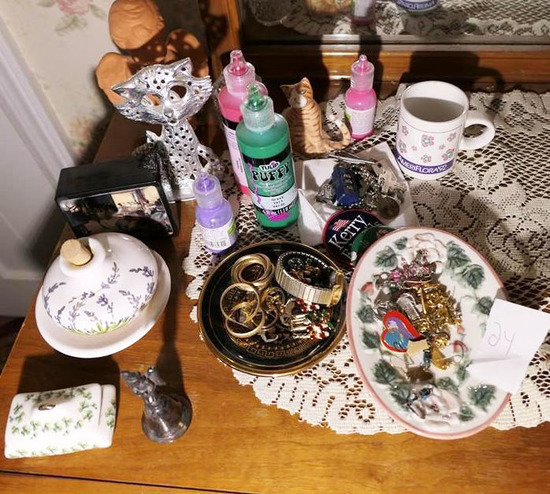 Assorted Items, Jewelry, Smalls on Counter lot