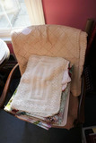 Group Lot Large Antique Tablecloths Woven Nice