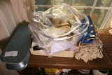 Counter Lot of Old Lace, Gloves, Fabrics etc