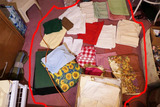 Large Lot of Old Linens including box contents