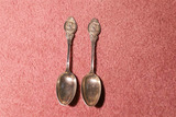 2 Early Sterling Silver Spoons with Fancy Designs