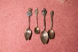 Group Fancier c. 1900 Sterling Silver Spoons Nice