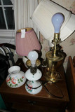 Group of Old Lamps Inc. Painted Glass