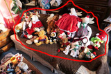 Couch lot of assorted teddy bears etc