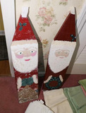 2 Folky Painted Santa Clauses made from wood slats