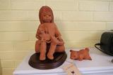 Pair Clay Sculptures Figurines by Ann Entis