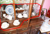 Group Lot China Cups Saucers, Plate, Crystal Vase
