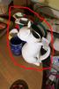 Group Lot assorted Ceramics Blue Mug, Cat Pitcher