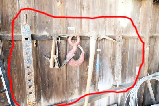 Large Crane Hook + Assorted Farms Tools etc