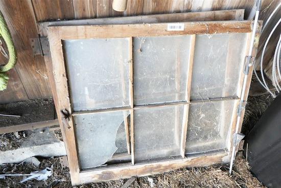 2 Antique Wood Framed Windows