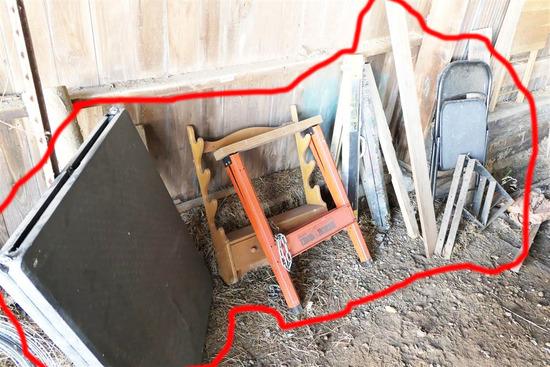 Sawhorses, Gun Rack, Table, Chair, Metal Lot