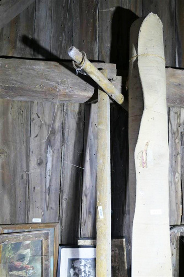 Antique wooden yoke on long plank