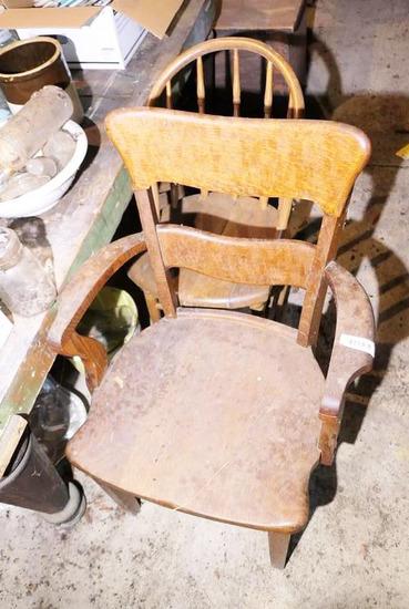 Antique Oak Chair + Child's Chair