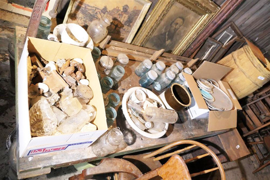Contents of Table Top Blue Glass Jars etc
