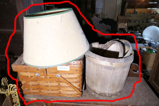 Antique Firkin Bucket, Lamp Shade, Picnic Basket