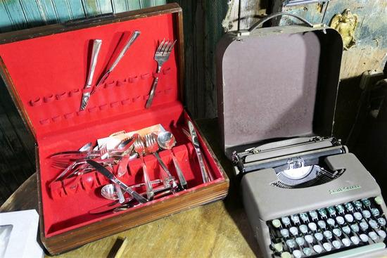 Steel Flatware Set + Typewriter Lot