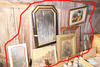 Group Lot of Framed Pieces Along Wall Mirror etc