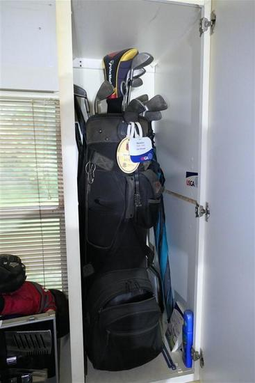 Set of Golf Clubs and more in cabinet