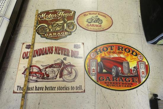 Four vintage style motorcylce/car signs
